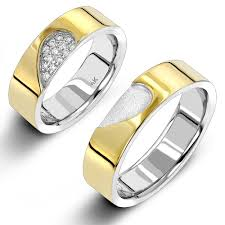 his and hers wedding bands sets gold his hers two tone diamond wedding band set by luxurman 0 25ct