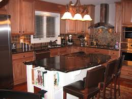 Black Brown Kitchen Cabinets by White Island With Open Shelves Brown Bar Stools White Kitchen