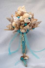 wedding bouquets with seashells blue seashell bouquet and boutonniere set wedding