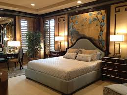 traditional master bedroom with mural by interior decisions inc