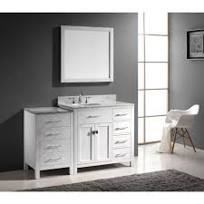 Houzz Bathrooms Vanities by Aqua 57 Inch White Finish Single Sink Bathroom Vanity