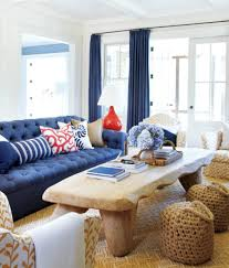 Living Rooms With Blue Couches by Living Room Blue Sofa And A Table With A Book Plus A Vase In The