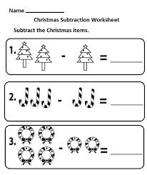 free printable subtraction christmas worksheet for kindergarten