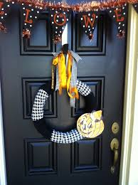 Halloween Door Wreaths Commona My House Halloween Jack O Lantern Wreath And Front Door Decor