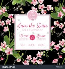 save date card tropical orchid flowers stock vector 585748931