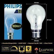 100w clear light bulbs philips 100w 240v bayonet cap bc b22 gls dimmable clear light bulb