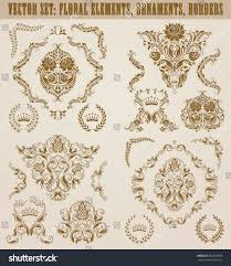set gold damask ornaments floral element stock vector 692538943