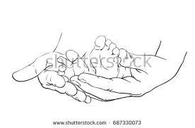 line art sketch baby feet mother stock vector 687330073 shutterstock