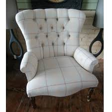 Victorian Armchair Large Victorian Style Button Back Armchair In Laura Ashley Linen