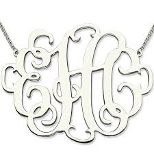 Monogrammed Necklace Sterling Silver Online Shop Xxl Monogram Necklace 2 Inch Personalized Initials