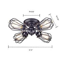 4 Light Semi Flush Ceiling Fixture by Yobo Lighting Oil Rubbed Bronze Wire Cage Vintage 4 Lights Semi