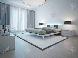 spacius spacious contemporary styled bedroom with double bed white carpet
