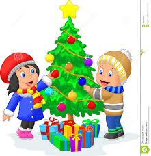 happy kids cartoon decorating a christmas tree with balls stock