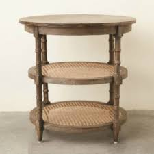 Nightstand With Shelves 3 Tier Round Side Table With Cane Shelves Antique Farmhouse