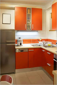 light brown varnish counter top small kitchen design red cylinder