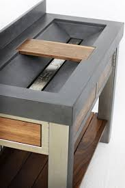 handmade steel walnut and concrete vanity by elements concrete