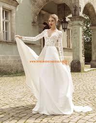 robe mariã e manche longue robe de mariée avec manches longues mousseline col en v féerique