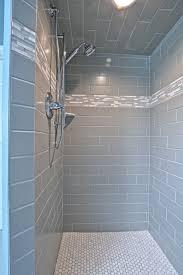 Bath Handheld Shower 4x12 Subway Tiles With Linear Mosaic Accent Tiles Kohler Bancroft