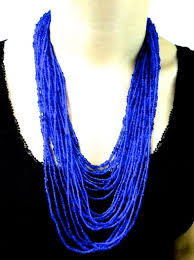 long blue necklace images Blue african beaded long necklace womens african jewellery kitenge jpg