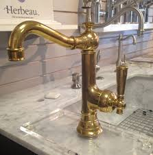 Pewter Kitchen Faucets by Biscuit Deck Mount Unlacquered Brass Kitchen Faucet Two Handle