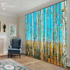 Light And Sound Blocking Curtains 3d Fantastic White Birch Printed Natural Scenery 2 Panels
