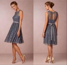 knee length bridesmaid dresses cheap 2016 knee length bridesmaid dresses a line sash grey