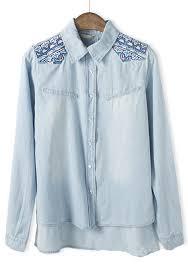 denim blouses light blue geometric embroidery sleeve denim blouse blouses