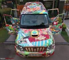 holographic car art on a mahindra scorpio the holographic love machine team bhp