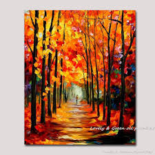 Colorful Painting by 100 Handmade Oil Painting On Canvas Autumnal Boulevard Palette