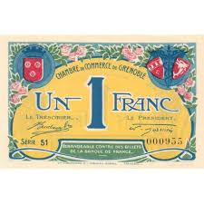 chambre des commerce grenoble billet des chambres de commerce grenoble 1 franc