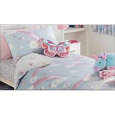 girls unicorn rainbow duvet cover set single blue amazon co uk