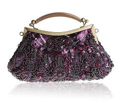 bridal party makeup bags purple women s beaded sequined wedding evening bag clutch