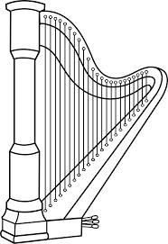 musical harp line art free clip art