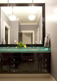 splashy frameless mirror in bathroom contemporary with master bath