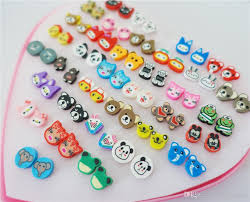store stud earrings mix colors assorted animals clay stud earrings for kids
