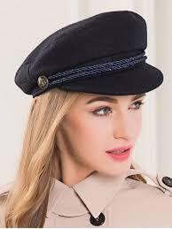 barret hat black wool rope fastener embellished beret hat rosegal
