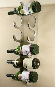 6 bottle cast and polished solid aluminium wall wine rack chrome