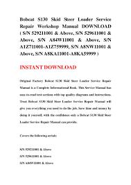 bobcat s130 skid steer loader service repair workshop manual download u2026