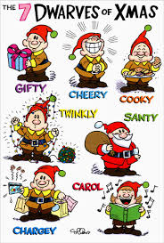 7 dwarves of christmas box of 12 funny humorous christmas cards