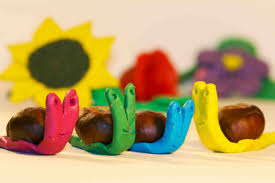 easy crafts for kids diy craft snail from play doh and chestnut