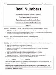 Rational Or Irrational Numbers Worksheet Revised Real Numbers Packet 1 Integer Rational Number
