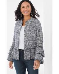 chicos clothing great deals on chico s women s ruffle tweed jacket black white