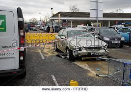 sidcup kent england 10th february 2016 car crashes into tesco