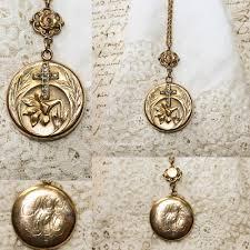 monogram locket necklace antique estate gold filled lilies cross monogram
