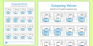 comparing volume activity sheet pack comparing capactity