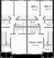 Duplex Townhouse Plans Upper Floor Plan For D 599 Duplex House Plans 2 Story Duplex