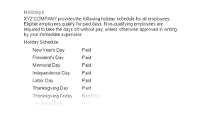 employees paid policy schedule
