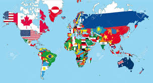 World Map Continents And Countries by The World Map With All States And Their Flags Royalty Free