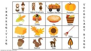thanksgiving and harvest vocabulary bingo freebie by fowler