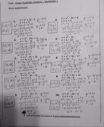 linear and quadratic equations worksheet systems of linear and quadratic equations worksheet photos